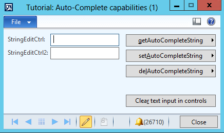 Tutorial auto-complete capabilities form